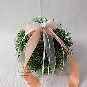 10 Stück Autoschleifen - Antennenschleifen - Spiegelschleifen Hochzeit Apricot mit Weiß oder Creme