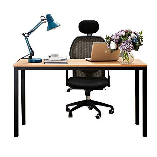 NeedFurniture Escritorios 138x55cm Mesa de Ordenador Grande Escritorio de Oficina Mesa de Comedor, Moderno Mesa de Trabajo de Madera Resistente, Teca & Negro AC3BB-140-BH