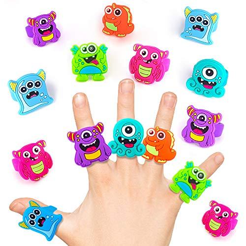 German Trendseller 12 x Monster Ringe - Mix für Kinder ┃ Monsterparty ┃ Mitgebsel ┃ Kindergeburtstag ┃ Geburtstag ┃ Party - Schmuck - Ringe - Monster (Monster Party Geburtstag)