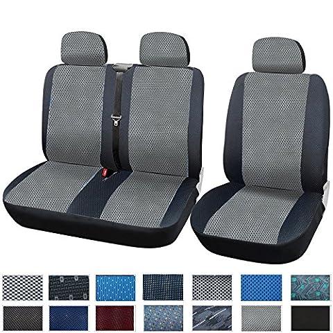 WOLTU 1+2 Housse de siège de camion,siège housse de van,Housses de siège universelle pour van Camion avec tissu,Gris Noir,AS7333
