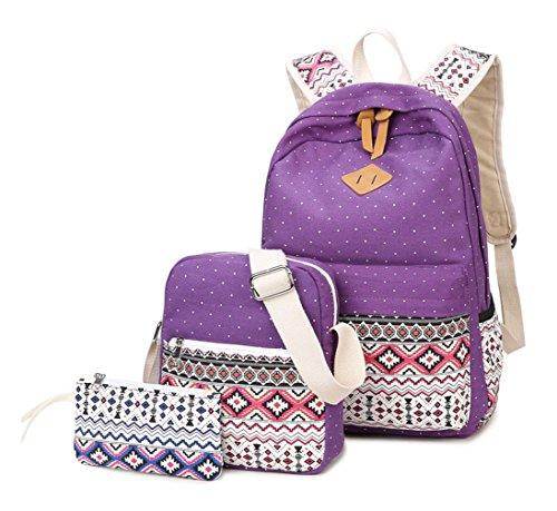 Alidier Neue Marke und Qualität 2016 Neue Schulrucksäcke/Rucksack Damen/Mädchen Vintage Schule Rucksäcke mit Moderner Streifen für Teens Jungen Studenten Lila