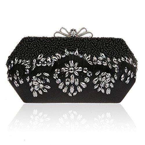 KAXIDY Classique Sac Pochette Sac Soirée Paillettes de Fleurs Sac Bandoulière Femme Pochette Mariage Noir