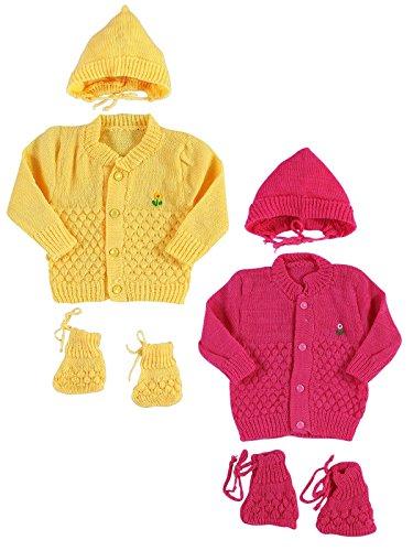 Montu Bunty Wear New Born Baby Woollen Knitted Baby Set (3Pcs Suit) (Pack of 2)