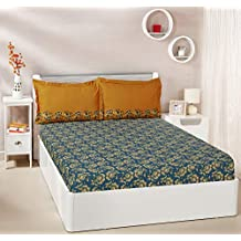 Amazon Brand - Solimo Ditsy Dale 144 TC 100% Cotton Double Bedsheet with 2 Pillow Covers, Blue