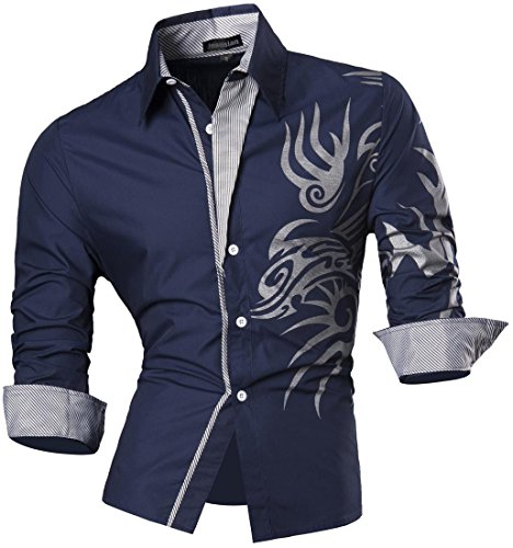 Jeansian uomo camicie maniche lunghe moda men shirts slim fit casual long sleves fashion z001 navy xl