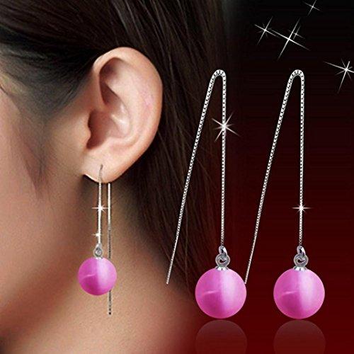 Boucle d'oreille Yogogo, 2017 Nouvelle Mode Femmes élégantes plaqué argent artificiel perle Drop longue chaîne Tassel Boucles d'oreilles A