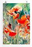 EAU ZONE Bilder - Bild von roten Mohnblumen im Feld- Leinwand Kunstdrucke Wandbilder aus Deutschland