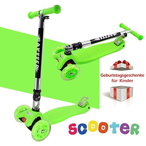 Preisvergleich Produktbild BAYTTER® Faltbarer Kinderroller für Kinder ab 2 Jahre bis 50kg, Kickscooter aus Aluminiumlegierung, Dreiräder mit LED Blinken (grün)