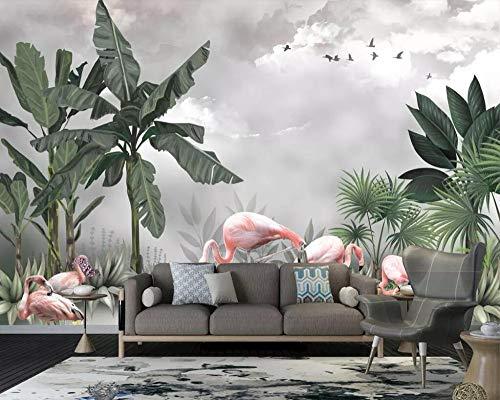 Beibehang Hand painted mural wallpaper HD Nordic plant flamingo beautiful scenery living room TV background wall 3d wallpaper,TE8U8Re1-t 200x140 cm (78.7 by 55.1 in) BGRWE