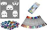ExcTech Riesiges Bastelset für 16 Prinzessinen-Masken + 20 Filzstifte mit Doppelspitze + 800 Schmucksteine + Schmucksteinkleber Kindermasken zum bemalen ausmalen