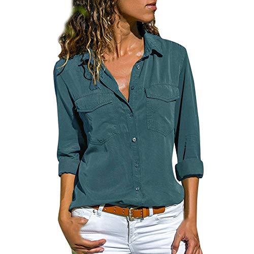 KUDICO Damen Lässige Tops Lange Ärmel Lapel Taschen Knopf Shirt T-Shirt Bluse(Blau, EU-46/CN-4XL)
