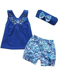 iiniim 3 Piezas Traje de Niños Camiseta Sin Manga Pantalones Cortos Cinta de Cabeza Azul para Bebé Niñas 3 a 24 Meses