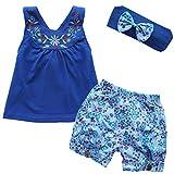 YiZYiF 3pcs Ensembles Bébé Fille T shirt , Short , Bandeau cheveux Florales Broderies - Bleu  - 90 cm