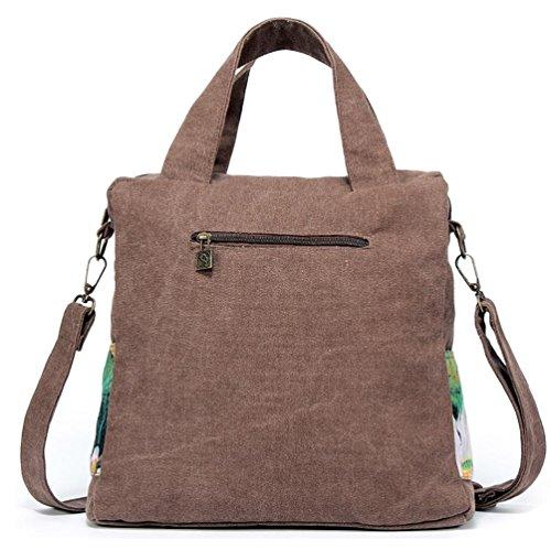 Chang Spent tela delle donne stampa piccola borsa a tracolla Messenger borsetta borsa piazza Borsa , brown Brown