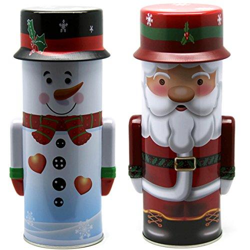 Bada Bing 2er Set Keksdose Schneemann Weihnachtsmann Santa Plätzchendose Weihnachten