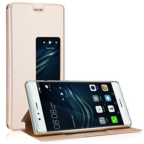 Huawei P9 Hülle, EnGive Premium PU leder Smart View Flip Case Ledertasche Tasche Für Huawei P9 (Gold)