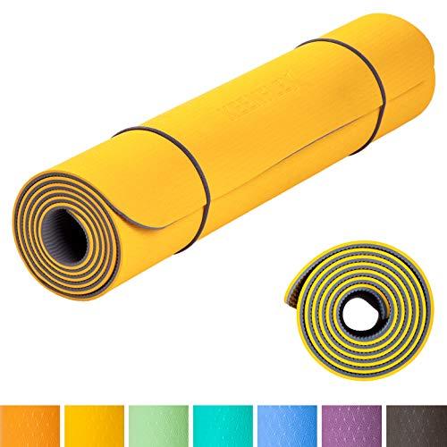 KeenFlex rutschfeste Yogamatte - frei von Schadstoffen - vollständig recyclebar- SGS geprüft perfect Fitnessmatte Sportmatte Gymnastikmatte Pilatesmatte - inkl. gratis Tragegurt (Gelb & Grau)