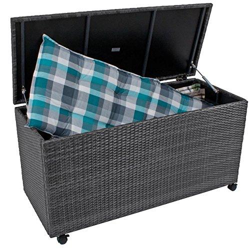 nxtbuy Auflagenbox MIRANO aus Alu/Kunststoffgeflecht in Grau 277 Liter Fassungsvermögen Wasserfeste...