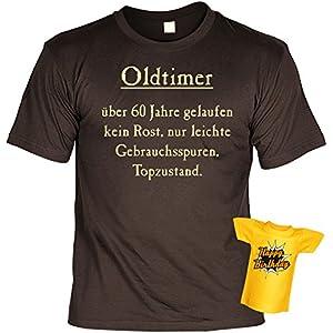 T-Shirt zum 60.Geburtstag + Minishirt Geschenk 60 Set : Oldtimer - über 60 Jahre gelaufen -- Set Goodman Design® Gr: M Farbe: braun