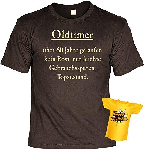 Geburtstags-Fun-Shirt-Set inkl. Mini-Shirt/Flaschendeko: Oldtimer über 60 Jahre gelaufen... Braun