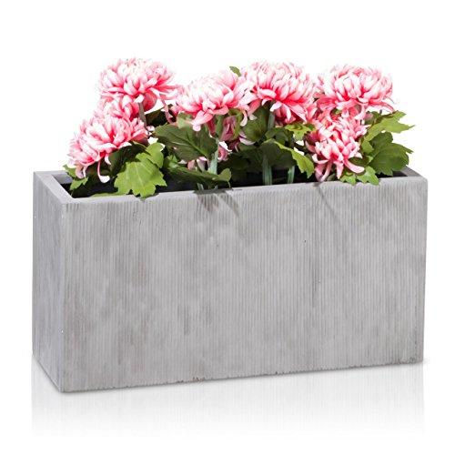 Maceta, jardinera de fibra de vidrio VISIO – color: gris estriada – maceta grande resistente a las inclemencias y al frío invernal para interior y exterior, jardinera robusta