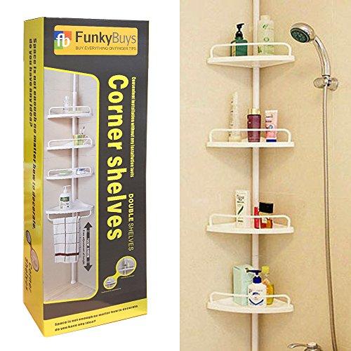 FunkyBuys Deluxe Branded WHITE 4 Tier Telescopic Adjustable (70cm - 248cm) Corner Shower Bathroom Organiser Shelf Caddy Holder