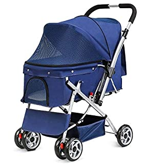 Amzdeal Pet Stroller with Handle Reversion Function, Pet Travel Pushchair Pram Jogger Buggy for Dogs with 6 EVA Steel Wheels Maximum Weight 15Kg+ 600D PVC Cloth