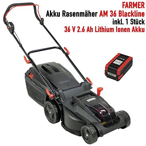 Farmer Akku Rasenmäher AM 36 Blackline mit Akku 36 V 2.6 Ah Lithium Ionen Akku 1Std Schnellladegerät 37 cm Schnittbreite Innovativer bürstenloser Motor (Motor Freiheit)