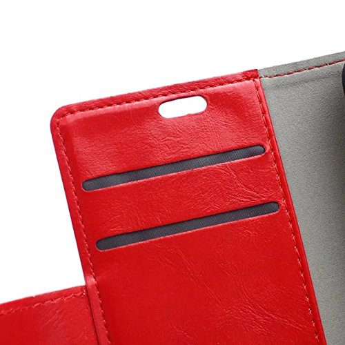 Verrückte Pferd Texture Pattern synthetische PU-Leder Fall horizontale Flip Stehhilfe Case Wallet Fall Deckung Solid Color Case für Huawei Mate S ( Color : Pink , Size : Huawei Mate S ) Red