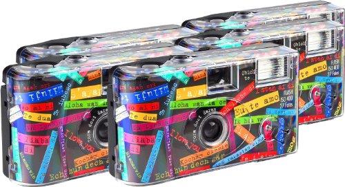 TopShot I mog di schwarz Einwegkamera / Hochzeitskamera (27 Fotos, Blitz, 5-er Pack)