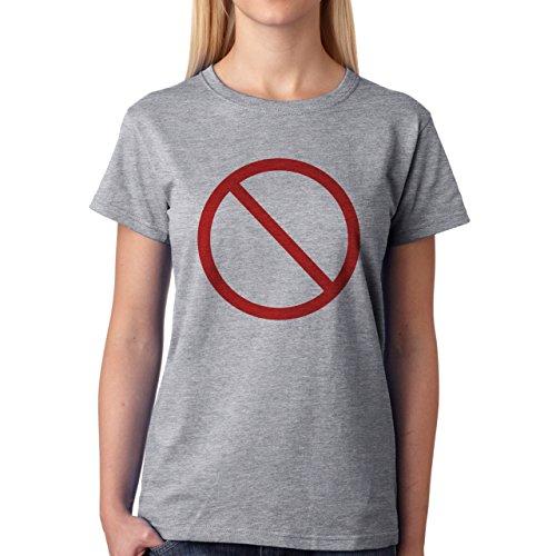 Danger Sign Warning Caution White Circle Red Damen T-Shirt Grau