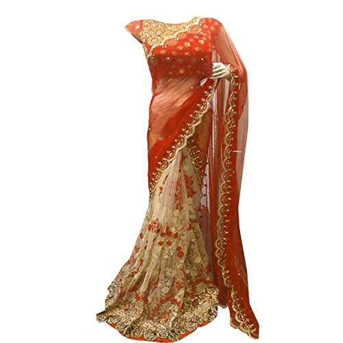 Clickedia Women's Heavy Pure Georgette & Net Embroidered Orange & Beige Saree with matching blouse pc  available at amazon for Rs.1699