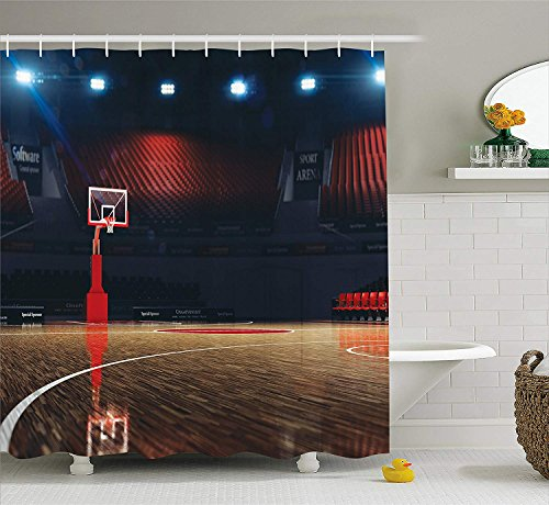 Sports Decor Shower Curtain Set, Picture of Empty Basketball Court Sport Arena with Spot Lights and Wood Floor, Bathroom Accessories, 60 * 72inchs Long, Brown Black and Red Lighthouse Court