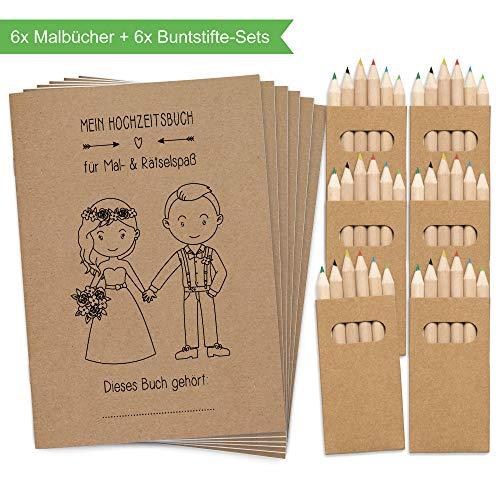 Wedding Shop Love Grows 6 Stück Hochzeitsmalbuch mit Buntstifte-Set / 24-seitiges Malbuch zur Hochzeit für Kinder als Gastgeschenk Mitgebsel (Hochzeit Karten Spielen)