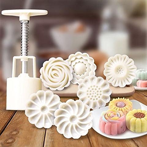Dealglad® Mooncake Mold Set fondente Candy Ananas torta Cookie Mold fai da te Baking Supplies, plastica, Bianco, Type