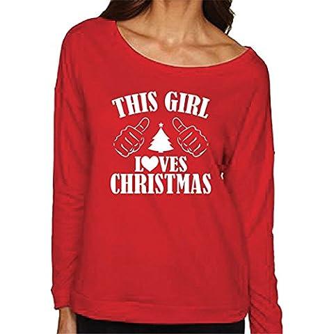 Xinantime Natale Donna Felpe con cappuccio Manica Lunga Felpa Pullover