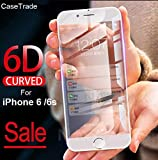 CaseTrade 6D Anti Scratch Curved 9H Full Screen Tempered Glass Screen Protector for Apple iPhone 6 / iPhone 6s (White)