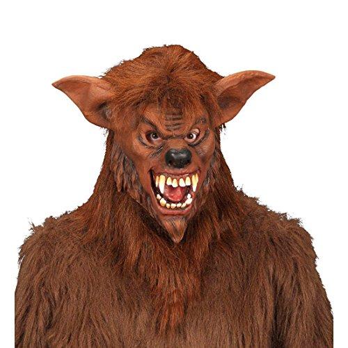 Werwolf Maske Werwolfmaske Plüsch Faschingsmaske Horror Bestie Halloweenmaske Wolf Horrormaske Halloween Kostüm (Braun Maske Werwolf Erwachsene Für)