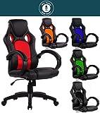 SPS-Racing Exclusiver Racing Bürostuhl Chefsessel Drehstuhl Schreibtischstuhl Gaming Office Chair (Schwarz/Rot)