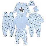 TupTam Baby Bekleidungsset Erstausstattung Sterne 7 teilig, Farbe: Graue Sterne Blau, Größe: 62