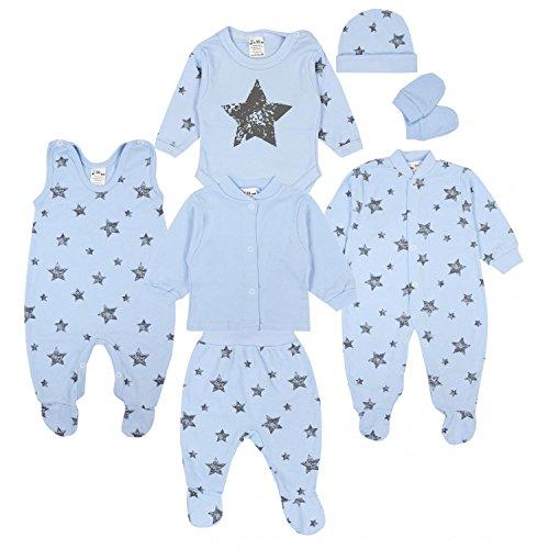 TupTam Baby Bekleidungsset Erstausstattung Sterne 7 teilig, Farbe: Graue Sterne Blau, Größe: 56
