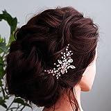 Kercisbeauty - Diadema para novia, novia, dama de honor, flor, niña, rosa, cristal, perlas y diamantes de imitación, diseño de peine para novia, pelo largo, rizado, accesorio para el pelo, boda, etc.