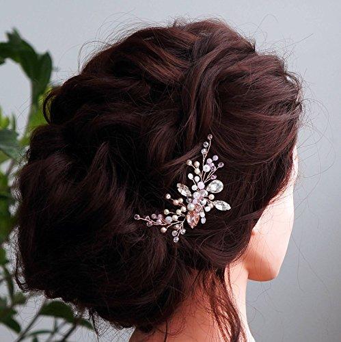 Kercisbeauty da sposa, damigella flower girl rosa perline di cristallo e strass piccolo carino capelli pettine sposa con pettine copricapo lungo ricci chignon capelli, accessori matrimonio
