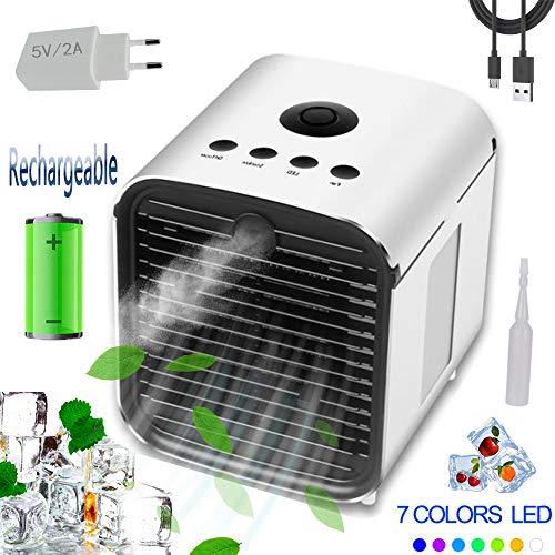 Air Portable Cooler Luftkühler Mobile Klimageräte - New Filter Paper 3 in 1 Mini Luftbefeuchter Leakproof und Luftreiniger, Tischklimaanlage Ventilator (3 Generation - wiederaufladbar + Adapter)
