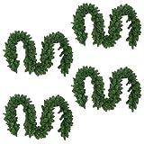 Multistore 2002 4 Stück Künstliche Weihnachtsgirlande Tannengirlande Girlande je 270cm je 180 Spitzen Innen + Aussen Weihnachtsdekoration Fensterdekoration
