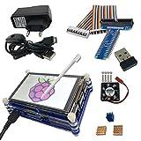 Haiworld RPI Starter Kit Pour Raspberry Pi 3 b & 2b,3.5' TFT Écran tactile + boîtier en 9 couches + Dissipateurs thermiques + Alimentation + GPIO Board + Câble + Ventilateur de refroidissement + 150 Mbps WiFi (8 Articles)