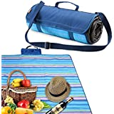 Yodo Compact Waterproof Picnic Blanket Rug (150 X 135 cm) with Shoulder Strap, Blue Stripe