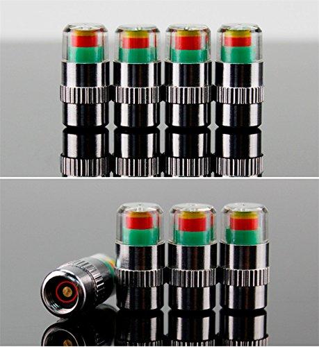 Tappi per valvole per le ruote dell'auto, in alluminio, argentato, misura la pressione dei pneumatici fino a 2,4 bar, 4 pezzi, indicatore di colore [verde, giallo, rosso]