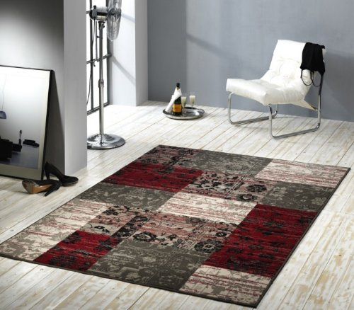 Design-Velours-Teppich-Patchwork-Optik-rot-grau-beige-101188