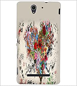 PrintDhaba Heart D-2156 Back Case Cover for SONY XPERIA C3 (Multi-Coloured)